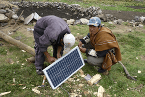 photo of installing a solar panel