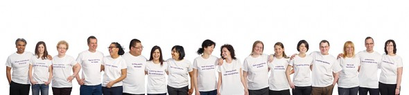 The completed composite photograph for the Distress Centre Calgary annual report