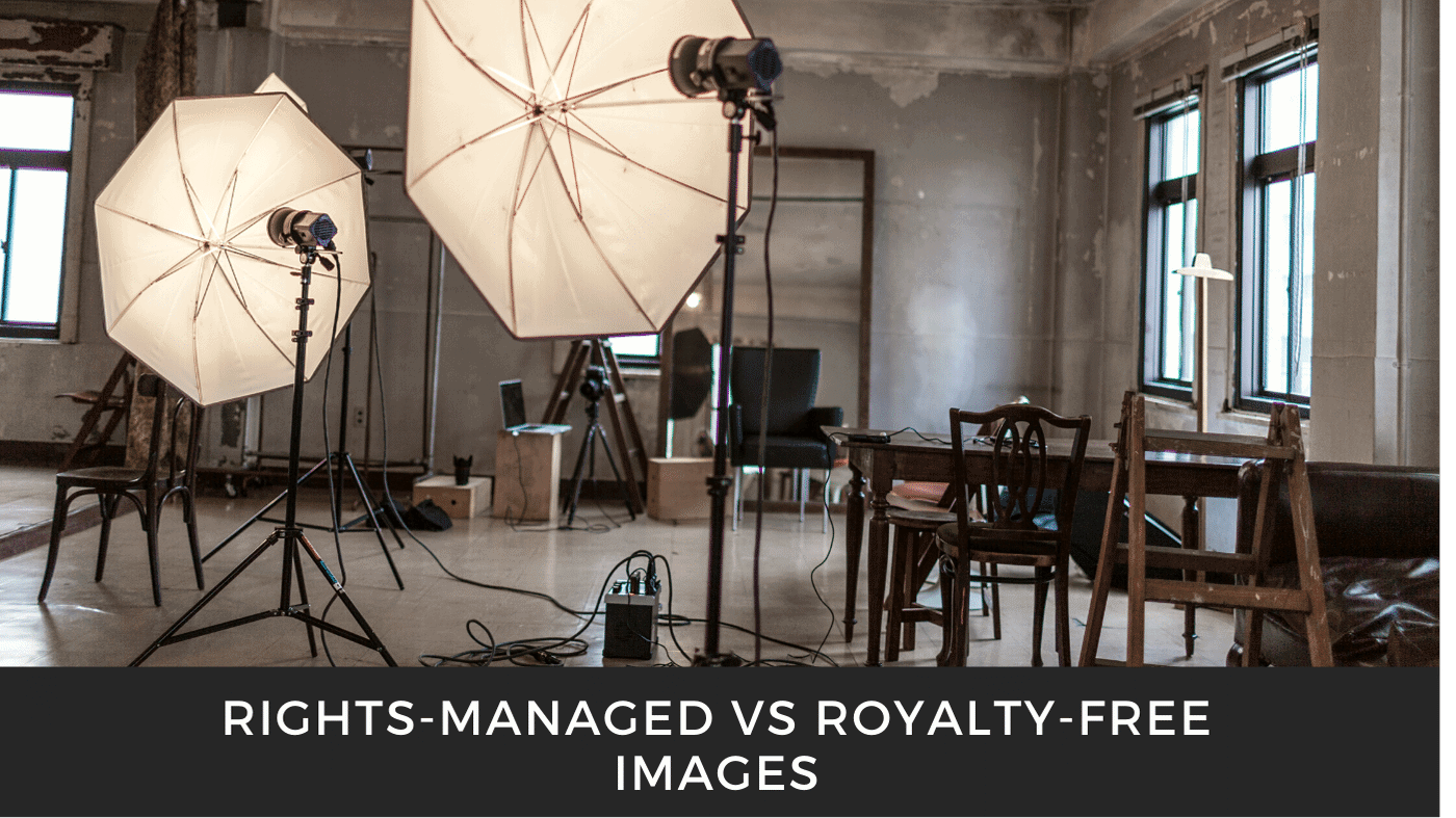 Graphic representing rights managed images and royalty free