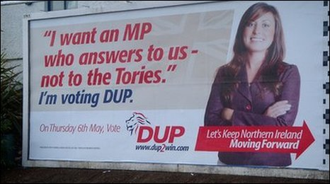 Billboard from British election illustrating the dangers of royalty free images.