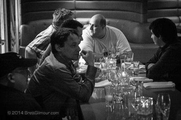 B & W Photo of Italian men at restaurant