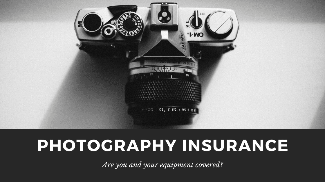Graphic about photography insurance featuring an Olympus OM-1 Camera