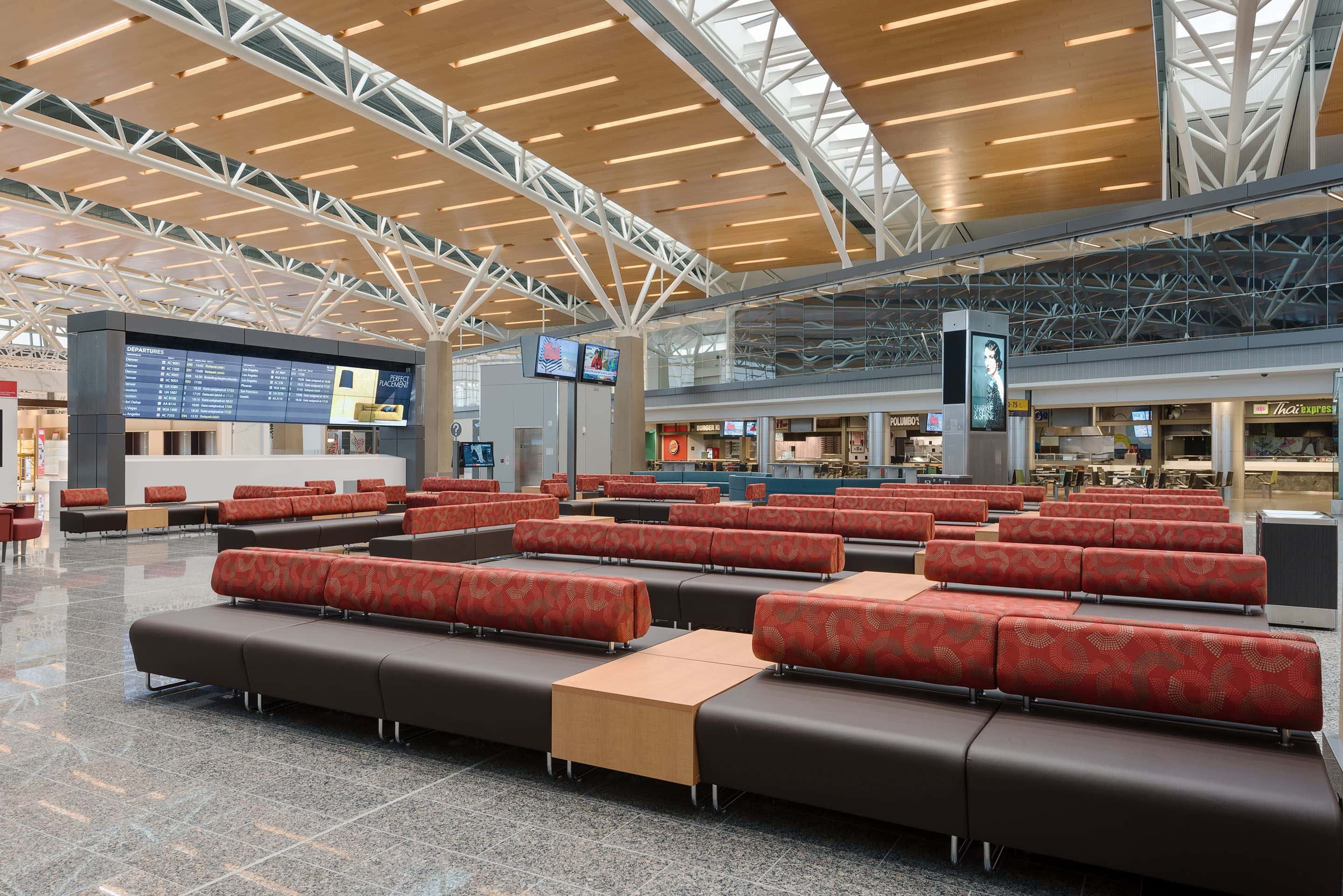 Photo of the interior of the Calgary International Airport featuring furniture made by KI Furniture