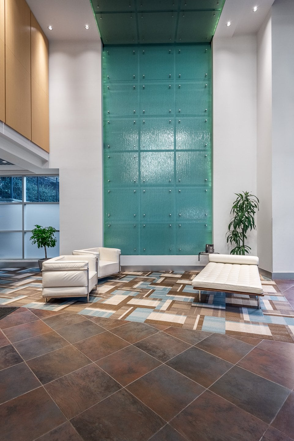Real estate photography of a commercial building lobby in Calgary