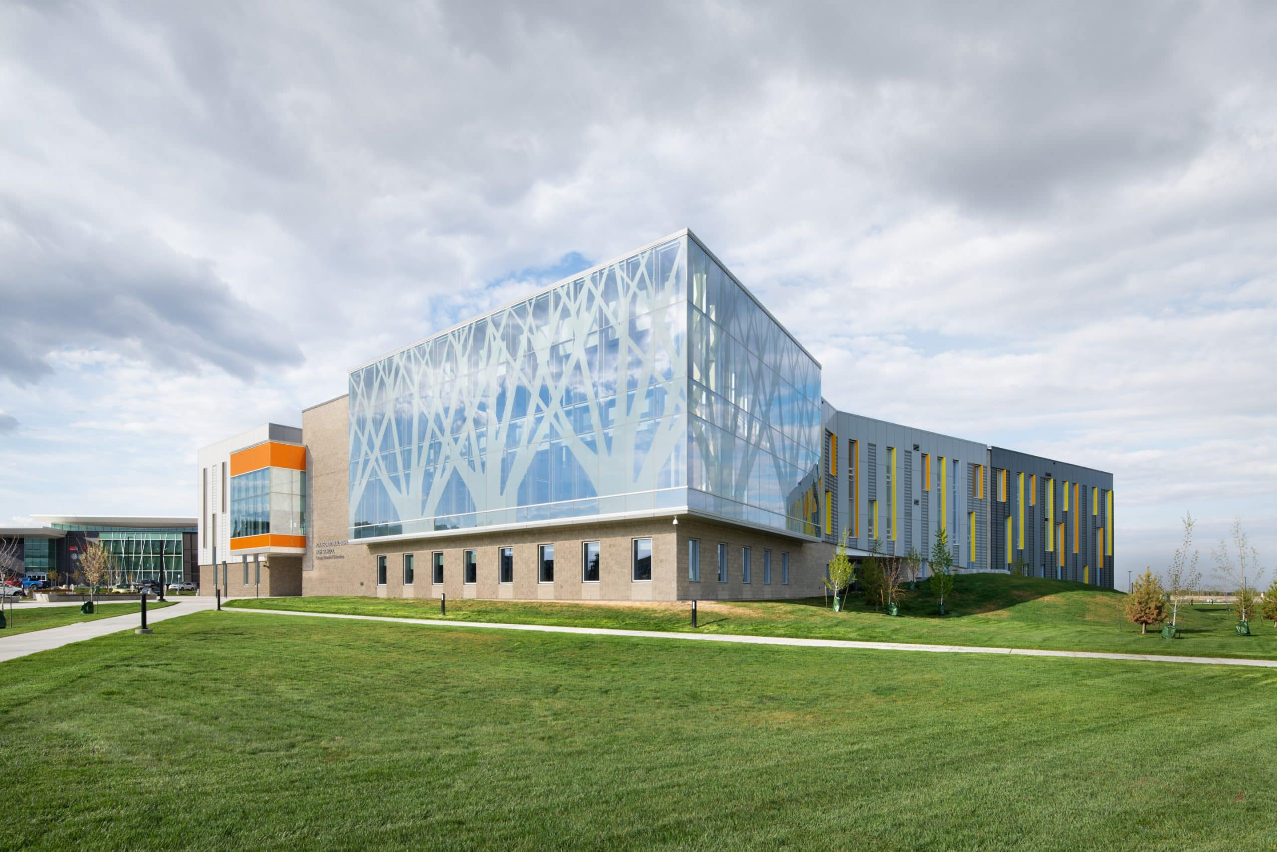 Architectural photography of the Cardinal Schubert High School in SE Calgary.