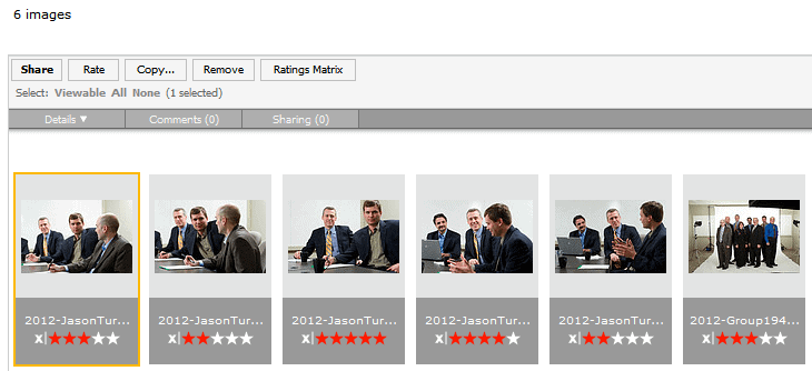 Image showing how to rate and select images at Gilmour Commercial Photography