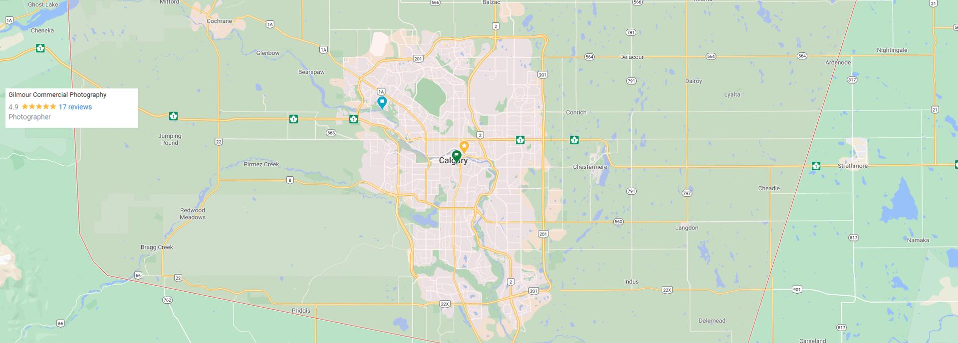 map of service area for Calgary local photographer Brett Gilmour